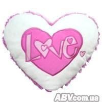 Купить Grand - Подвесное сердечко - ЛЮБОВЬ (18 см, бело-розовое)