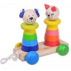 Каталка Мир деревянных игрушек Кот и собака (Д353)